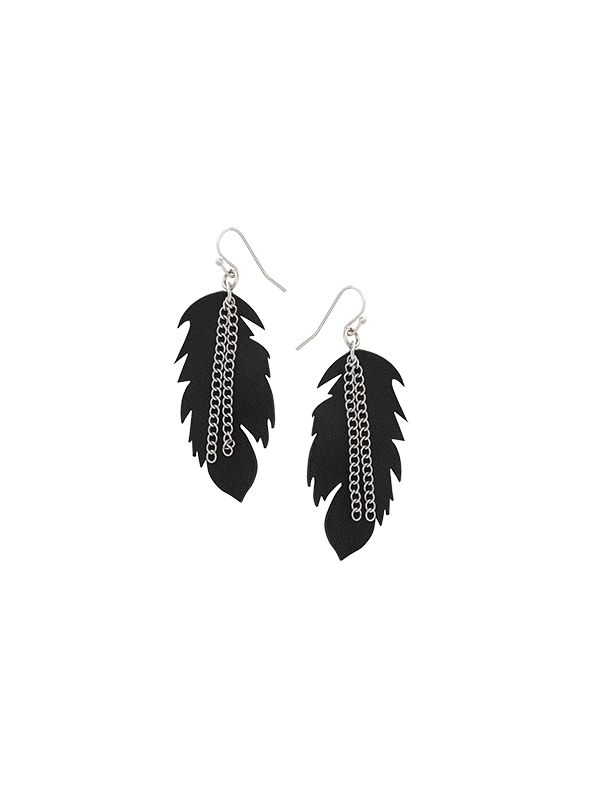 Leather Feather Earring